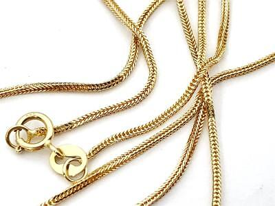 """14K 16"""" Inch .8mm Solid Yellow Gold Foxtail Square Box Wheat Necklace Chain"""