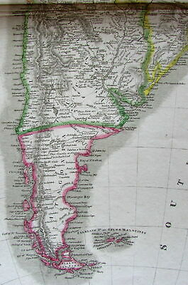 South America continent 1821 Thomson very large old engraved map hand colored