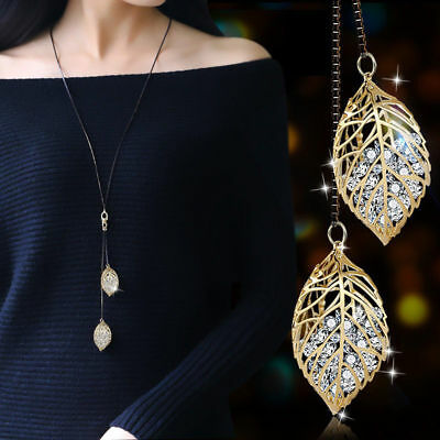 Women's Rhinestone Leaf Charms Pendant Necklace Long Sweater Chain Jewelry Gift