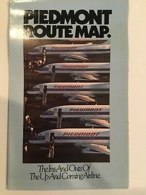 1982 Piedmont Airlines System Route Map - new condition