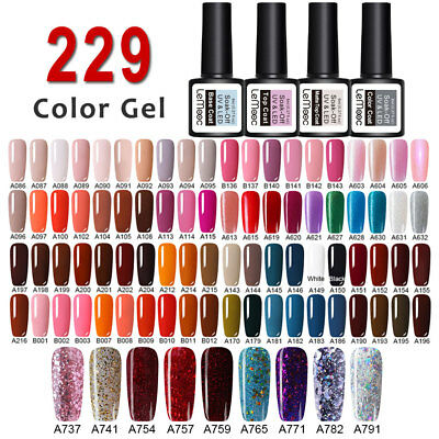 229 Colors LEMOOC Nail Gel Polish Soak off Pure Tips Glitter Sequins Gel 8ml