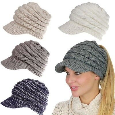 Womens Girl's Stretch Knit Hat Messy Bun Ponytail Beanie Holey Warm Hats Winter