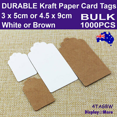 Paper TAG Kraft Price Label Card | 200pcs | BLANK White or Brown | SYDNEY Stock