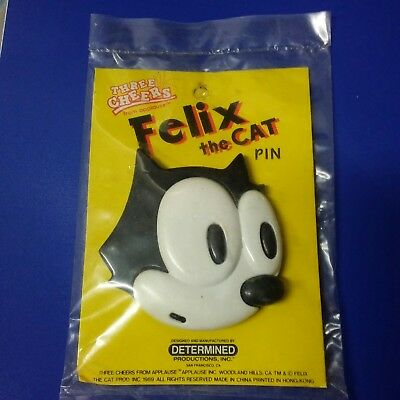 VINTAGE LARGE RARE FELIX THE CAT FACE HEAD 3 DIMENSIONAL PIN BROOCH PLASTIC New