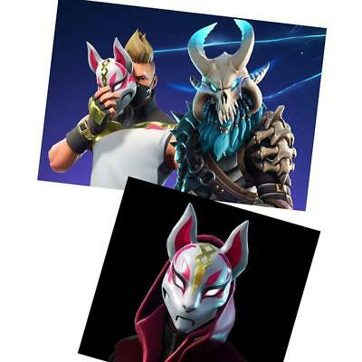 Fortnite Mask Helmet Mens Womens Halloween Cosplay Costume Game Fox Drift