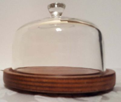 "Vintage ""Good Wood"" Cheese Appetizer Wooden Tray Heavy Glass Dome Cover Lid MINT"