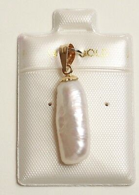 Cultured Biwa Pearl 14K White Gold charm , Pendant  for necklace
