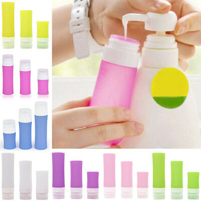 Silicone Travel Shower Packing Bottle 3 Size Lotion Shampoo Bath Press Container