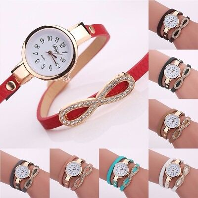Women Crystal Bow-knot PU Leather Quartz Watch Fashion Girl Wrist Bracelets Gift