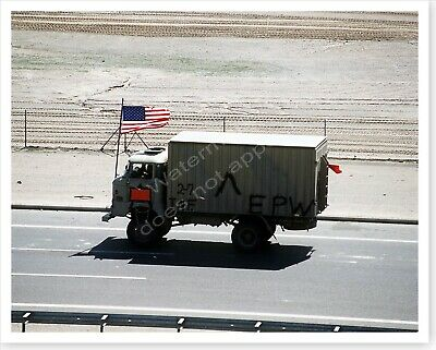 US Flagged Captured Iraqi Truck On Highway 8 Operation Desert Storm 8 x 10 Photo