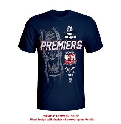 Sydney Roosters NRL 2018 ISC Premiers T Shirt Sizes S-3XL  *** In Stock***