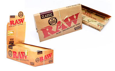 RAW Classic Single Wide - 20 PACKS - Rolling Papers Natural Gum Unrefined Vegan