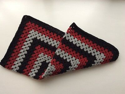 Hand Knitted / Crochet Baby Blanket In Black Red & Silver Grey