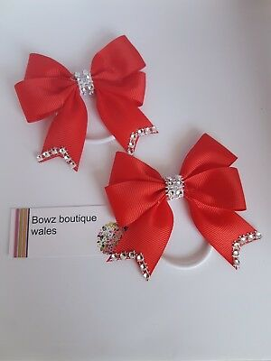 handmade bling hair bow pair of girls with tails/bobble red ask for other colour