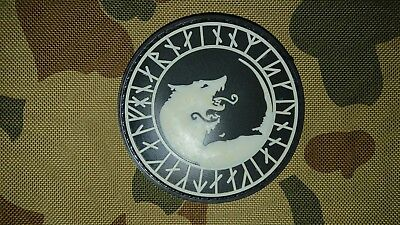 New Viking Odin Wolf Glow Black Pvc Morale Tactical Army Patch Australia Seller