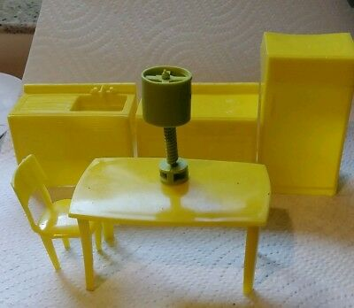 Vintage MPC Yellow Plastic Kitchen Doll House Set Table Chair Stove Sink Fridge