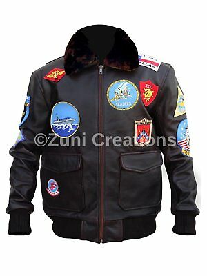 Mens Tom Cruise Pete Maverick Top Gun Flight Bomber Real Leather Jacket Real Fur