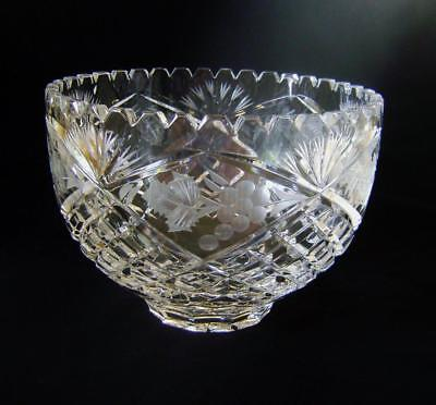 Vintage  Lead Crystal Cut Glass Bowl; Fruit / Trifle / Punch  8 x 6 inches