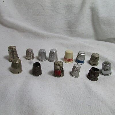 Large Vtg Antique Collectible Mixed Thimble Lot, Silver, Embossed, Advertising