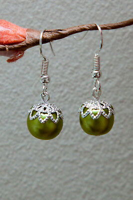 Christmas Bauble Earrings Handmade Silver Plated Drop Dangly Green Beaded Gifts