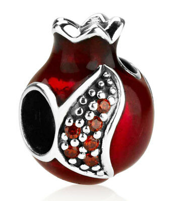 Silver Pomegranate Charm Bead - Fits European Style Bracelet - Made in Israel