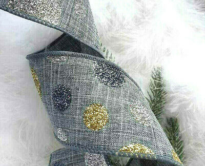1m  63mm WIRED CHRISTMAS RIBBON GREY + SILVER PEWTER & GOLD GLITTER SPARKLE DOTS