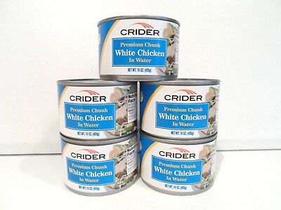 Lot of 5 Crider White Chicken 15 oz Can Canned Food Protein Exp. Jan 20 2020