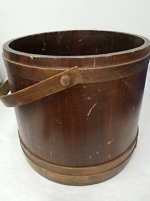 "Large Vintage? Antique? Wooden Firkin? Bucket w/ Handle 13.5"" Tall Lane Mfg Co."