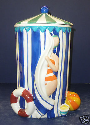 Enesco Daniel Dela Cruz Beach Cabana Cookie Jar- New in Box- Retired- 2003