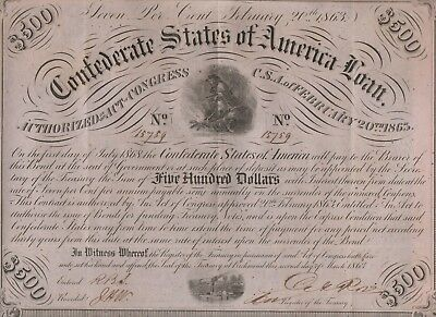 """Confederate States of America Loan""500 Dollars Bond,2.20.1863,Choice Extra Fine"