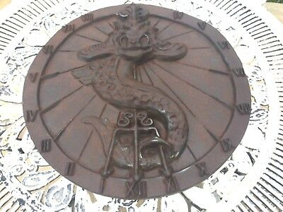 """Very Large Georgian Cast Iron Sundial 18"""" Diameter X 2"""" Thick & 10 Kg In Wieght"""