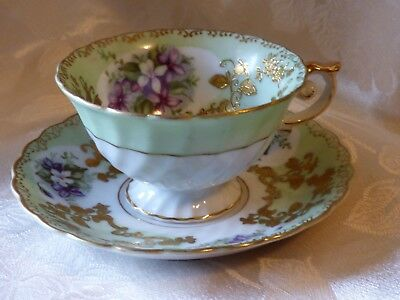 Violets Hand Painted Trimont China Occupied Japan Footed Tea Cup Gold Moriage