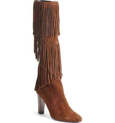 b4a81c06920 NIB SAINT LAURENT  Lily  Fringe Tall Boot Size 37 BROWN SUEDE  1