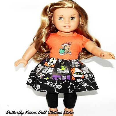 "Halloween Skelton Multi Media Handmade Skirt 18"" Doll Clothes Fit American Girl"