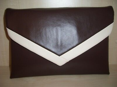OVER SIZED dark brown & cream faux leather clutch bag. Handmade in the UK