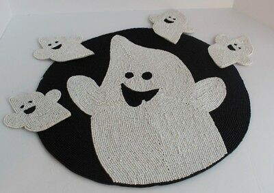 Halloween Beaded Ghost Charger and 4 Beaded Ghost Coasters