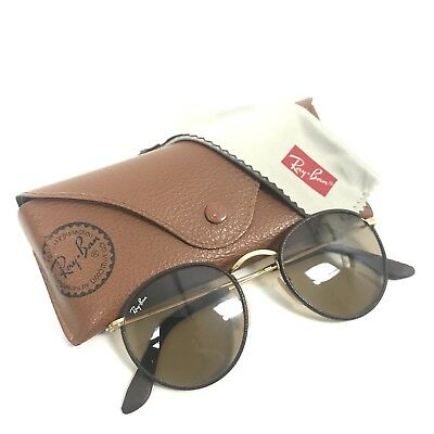 e3530d99e82 Ray Ban Round Craft Brown Leather Sunglasses Sun Shades Unisex Men Women  RB3475Q