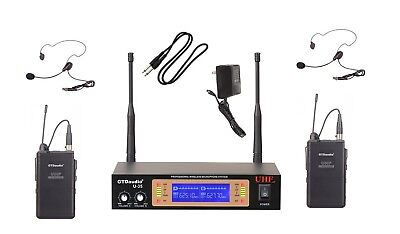 GTD Audio 2Ch UHF   Lavaliere Wireless Microphone Mic System  NEW 35LL