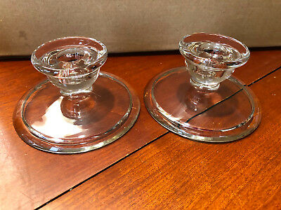 Vintage/Antique Glass Candle Holders - A Pair - Squat Plain Design - Heavy