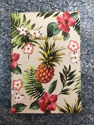 Birthday Book Pineapple Tropical with gold edging 95mm x 130mm