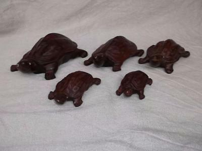 281 / Vintage Chinese Set Of Five Graduated Hand Carved Wooden Tortoises