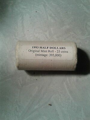 Mint Roll Canada 1993 50 Cent Half Dollars 393,000 Mintage