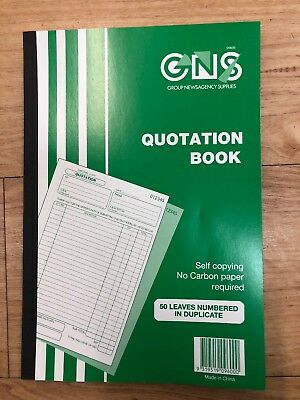 Quotation Book Quote GNS A4 Carbonless 50 Leaf