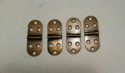 4 Matching Vintage Looking Oval Brass Plated Hinges  Trunks Cabinet (177Ha)