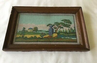 Antique 19th C. Beaded Needlepoint Tapestry Landscape.                    #3381