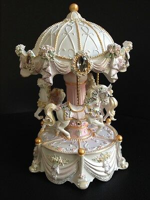 White Carousel Merry Go Around Music Box With Color Light