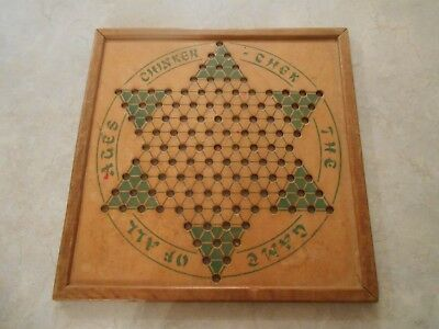 Antique Vtg '37 Chinkerchek primitve wood cardboard game board..Chinese checkers