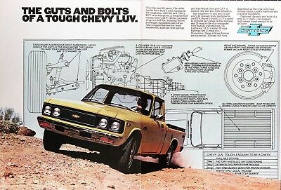 1977 CHEVY LUV PICKUP Genuine Vintage Advertisement ~ Guts and Bolts