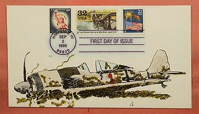 1995 Fdc #2981 Wwii Elbe River Plane Hand Painted Cachet