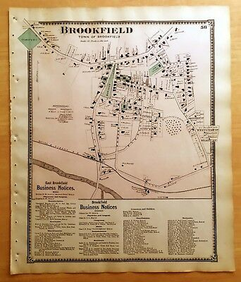 Original 1870 Map BROOKFIELD MA Massachusetts BEERS Antique DETAILED